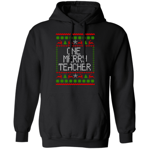 One Merry Teacher Pullover Hoodie 8 oz.