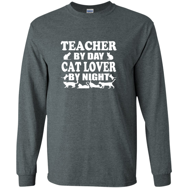 Teacher by Day Cat Lover by Night LS Ultra Cotton Tshirt - TeachersLoungeShop - 6