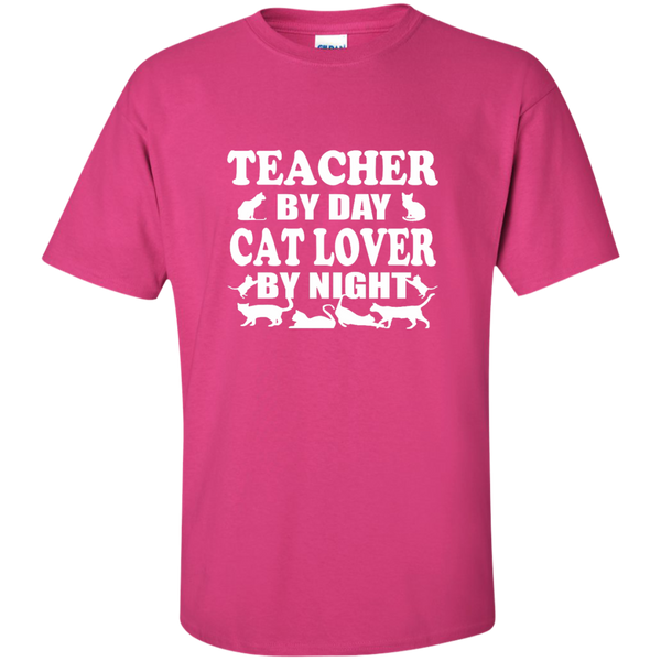 Teacher by Day Cat Lover by Night Cotton T-Shirt - TeachersLoungeShop - 11