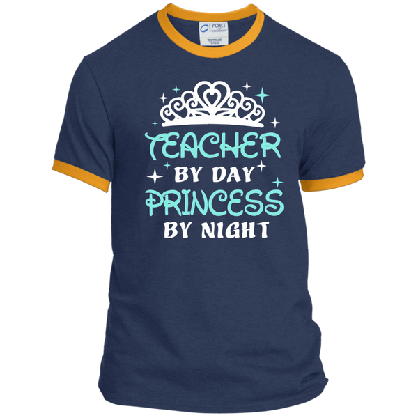Teacher By Day Princess By Night ver2 Ringer Tee - TeachersLoungeShop - 1