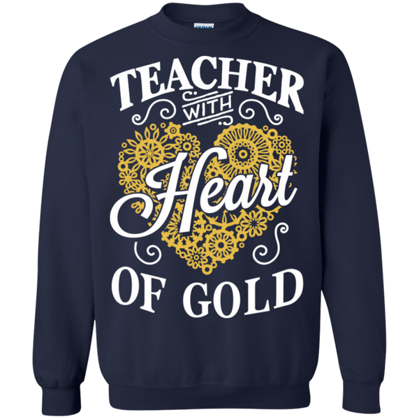 Teacher with Heart of Gold  Crewneck Pullover Sweatshirt  8 oz - TeachersLoungeShop - 2
