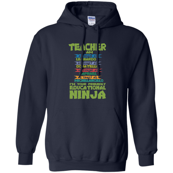 Teacher I'm Your Friendly Educational Ninja Pullover Hoodie 8 oz - TeachersLoungeShop - 3