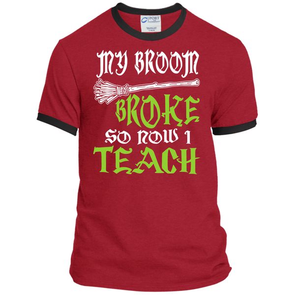 My Broom Broke So Now I'm a Teacher Ringer Tee - TeachersLoungeShop - 6
