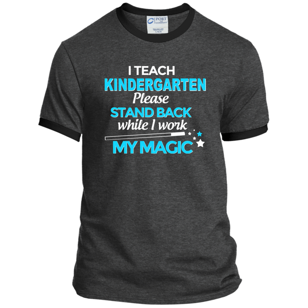 I Teach Kindergarten Please Stand Back While I Work My Magic Ringer Tee - TeachersLoungeShop - 3