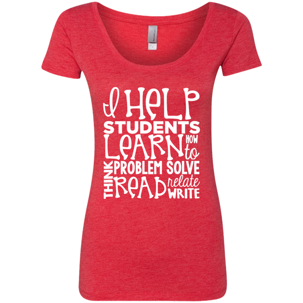 I Help Students Learn Think Problem Solve Read Relate Write Next Level Ladies Triblend Scoop - TeachersLoungeShop - 5