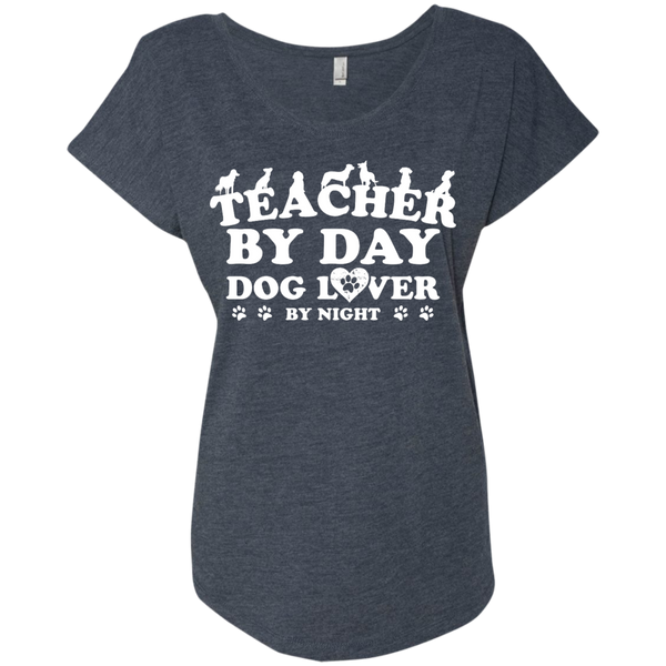Teacher By Day Dog Lover Next  Level Ladies Triblend Dolman Sleeve - TeachersLoungeShop - 5