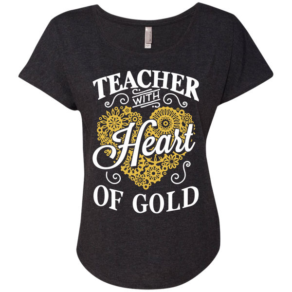 Teacher with Heart of Gold  Level Ladies Triblend Dolman Sleeve - TeachersLoungeShop - 4