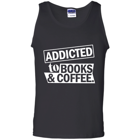 Addicted to Books and Coffee 100% Cotton Tank Top - TeachersLoungeShop - 1