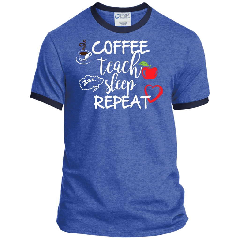 Coffee Teach Sleep Repeat Ringer Tee - TeachersLoungeShop - 1