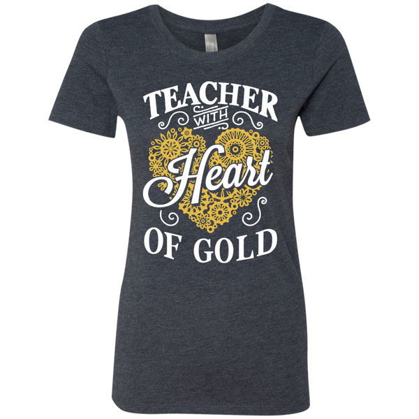 Teacher with Heart of Gold  Level Ladies Triblend T-Shirt - TeachersLoungeShop - 3