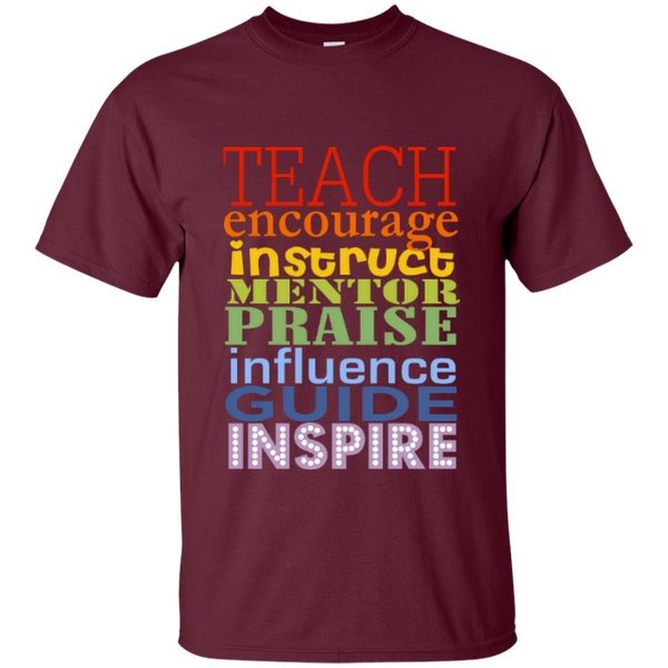 Teach Encourage Instruct Mentor Praise Influence Guide Inspire Cotton T-Shirt - TeachersLoungeShop - 4
