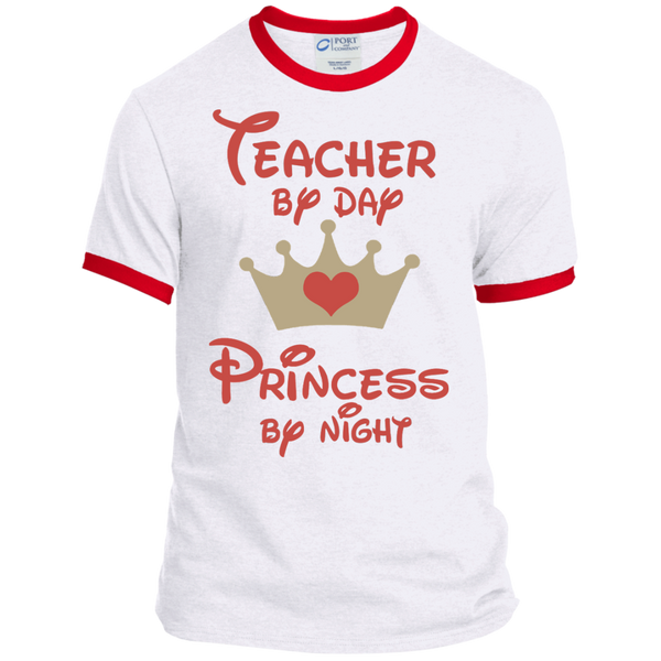 Teacher by Day Princess by Night Ringer Tee - TeachersLoungeShop - 4