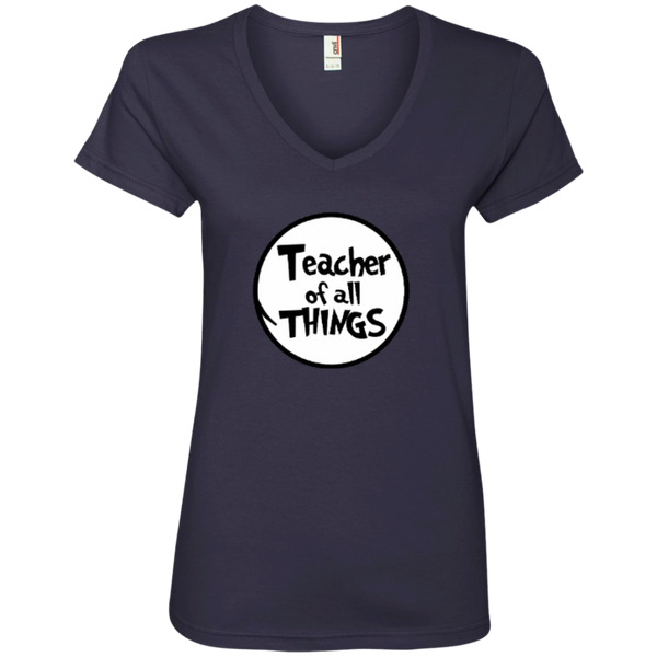 Teacher Of All Things ver2 Ladies' V-Neck Tee - TeachersLoungeShop - 3