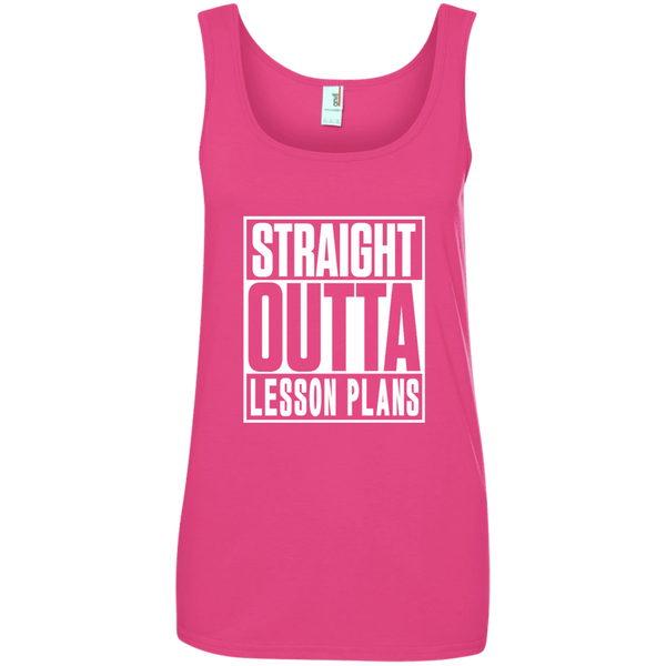 Straight Outta Lesson Plans Ladies' 100% Ringspun Cotton Tank Top - TeachersLoungeShop - 2