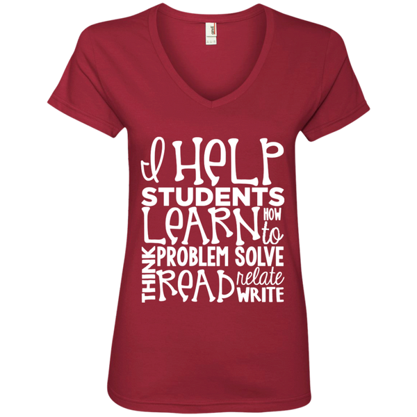 I Help Students Learn Think Problem Solve Read Relate Write Ladies' V-Neck Tee - TeachersLoungeShop - 3