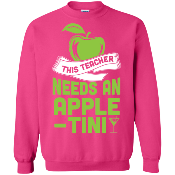 THIS TEACHER NEEDS AN APPLE-TINI Crewneck Pullover Sweatshirt  8 oz - TeachersLoungeShop - 10