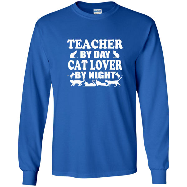 Teacher by Day Cat Lover by Night LS Ultra Cotton Tshirt - TeachersLoungeShop - 8