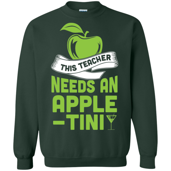 THIS TEACHER NEEDS AN APPLE-TINI Crewneck Pullover Sweatshirt  8 oz - TeachersLoungeShop - 4