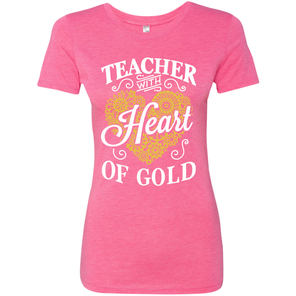 Teacher with Heart of Gold  Level Ladies Triblend T-Shirt - TeachersLoungeShop - 4