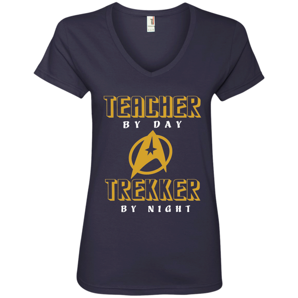 Teacher By Day Trekker By Night Ladies' V-Neck Tee - TeachersLoungeShop - 4