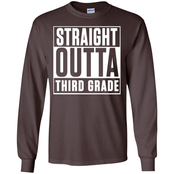 Straight Outta Third Grade LS Cotton Tshirt - TeachersLoungeShop - 11