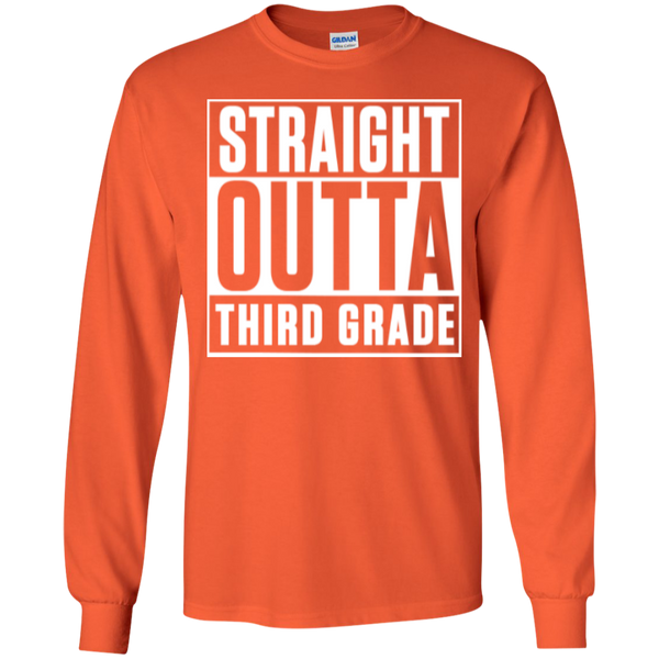 Straight Outta Third Grade LS Cotton Tshirt - TeachersLoungeShop - 2