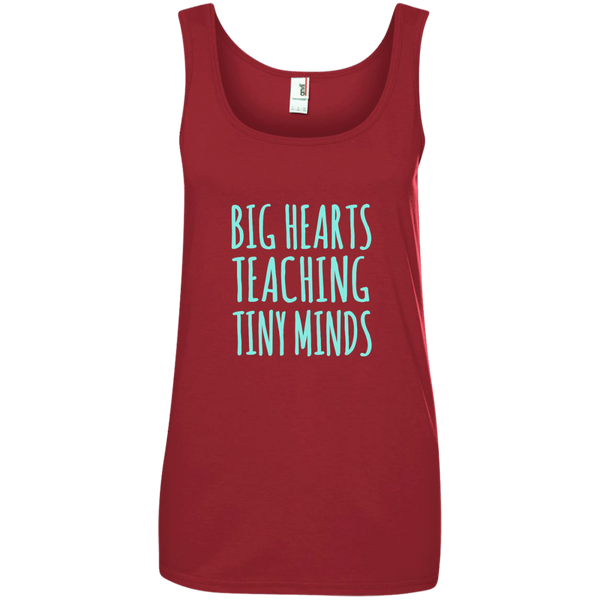 Big Hearts Teaching Tiny Minds Ladies' 100% Ringspun Cotton Tank Top - TeachersLoungeShop - 1