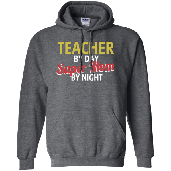 Teacher by Day Super Mom By Night  Hoodie 8 oz - TeachersLoungeShop - 3