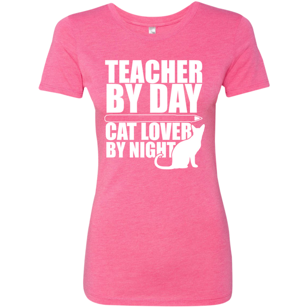Teacher by Day Cat Lover by Night Next  Level Ladies Triblend T-Shirt - TeachersLoungeShop - 5