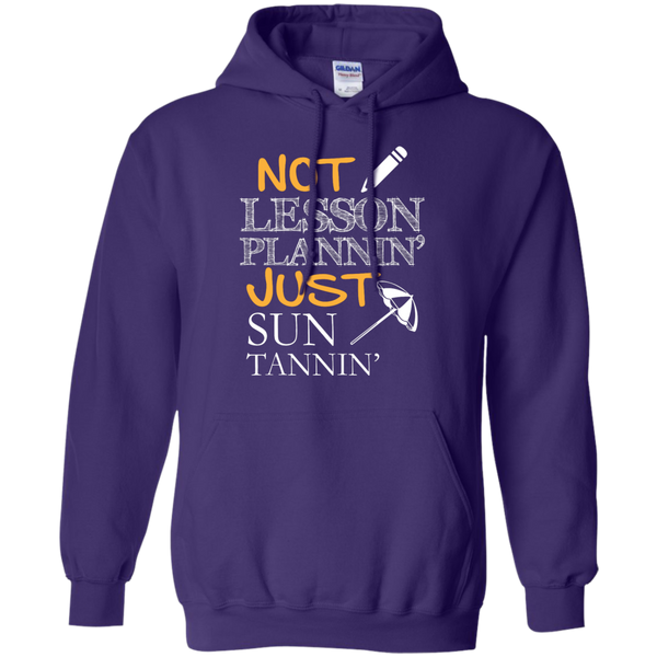 Not Lesson Plannin' Just Sun Tannin'   Hoodie 8 oz - TeachersLoungeShop - 11