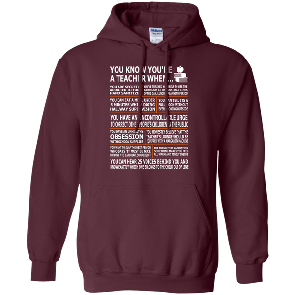 You Know You're a Teacher When Pullover Hoodie 8 oz - TeachersLoungeShop - 9