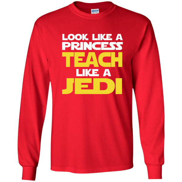 Look Like a Princess Teach Like a Jedi LS Ultra Cotton Tshirt - TeachersLoungeShop - 8