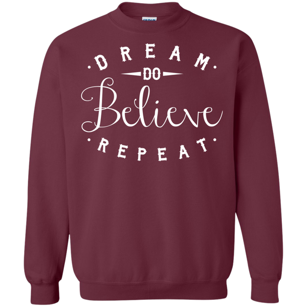 Dream Do Believe Repeat   Crewneck Pullover Sweatshirt  8 oz - TeachersLoungeShop - 2
