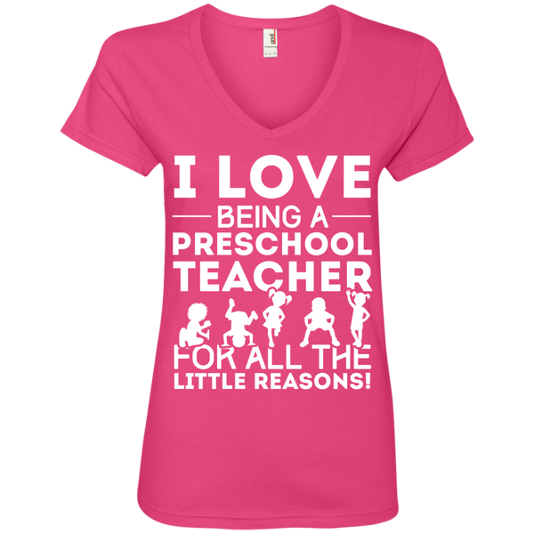 I Love being a Preschool Teacher for all the little reason Ladies' V-Neck Tee - TeachersLoungeShop - 2