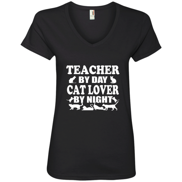 Teacher by Day Cat Lover by Night Ladies' V-Neck Tee - TeachersLoungeShop - 3