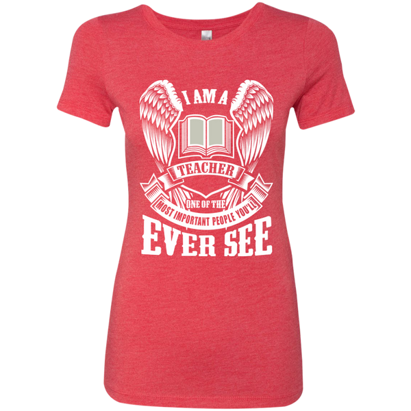 I am a Teacher One of the Most Important People You'll Ever See Next Level Ladies Triblend T-Shirt - TeachersLoungeShop - 5