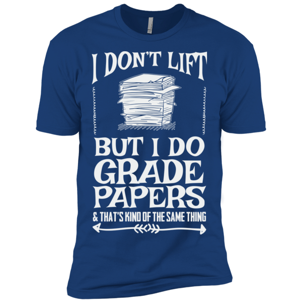 I Dont Lift but I do Grade papers Level Premium Short Sleeve Tee - TeachersLoungeShop - 11