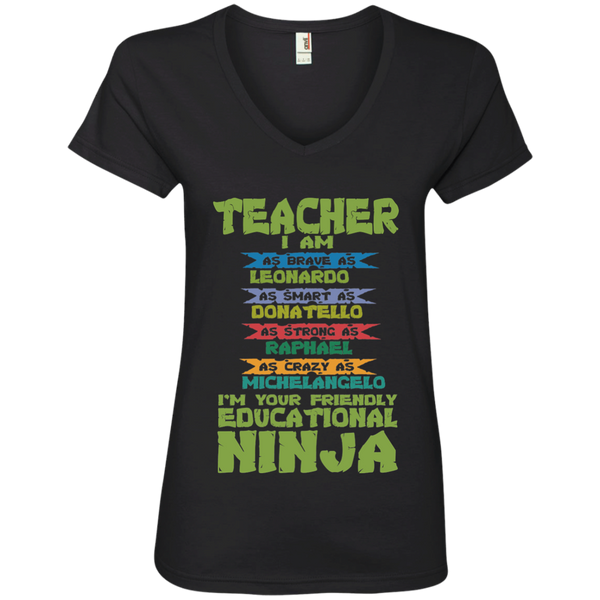 Teacher I'm Your Friendly Educational Ninja Ladies' V-Neck Tee - TeachersLoungeShop - 1