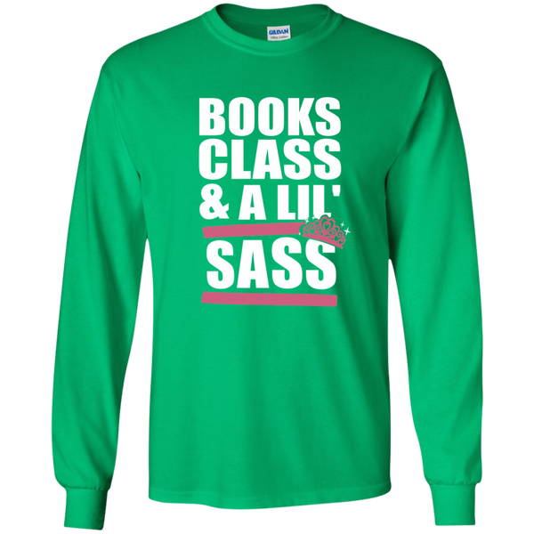 Books Class and A Little Sass LS Ultra Cotton Tshirt - TeachersLoungeShop - 7