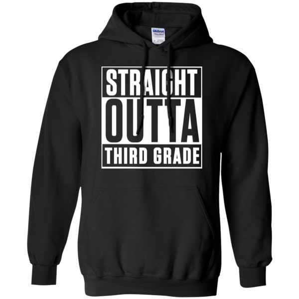 Straight Outta Third Grade  Hoodie 8 oz - TeachersLoungeShop - 1