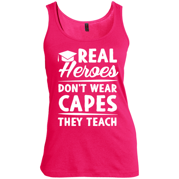 Real Heroes Dont wear capes They Teach  Women's  Scoop Neck Tank Top - TeachersLoungeShop - 4