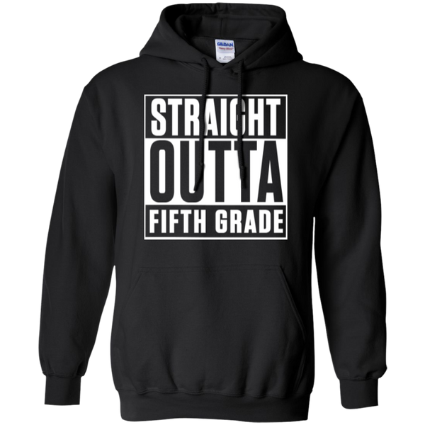 Straight Outta Fifth Grade  Hoodie 8 oz - TeachersLoungeShop - 2