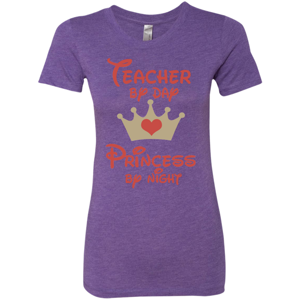 Teacher by Day Princess by Night Next Level Ladies Triblend T-Shirt - TeachersLoungeShop - 3
