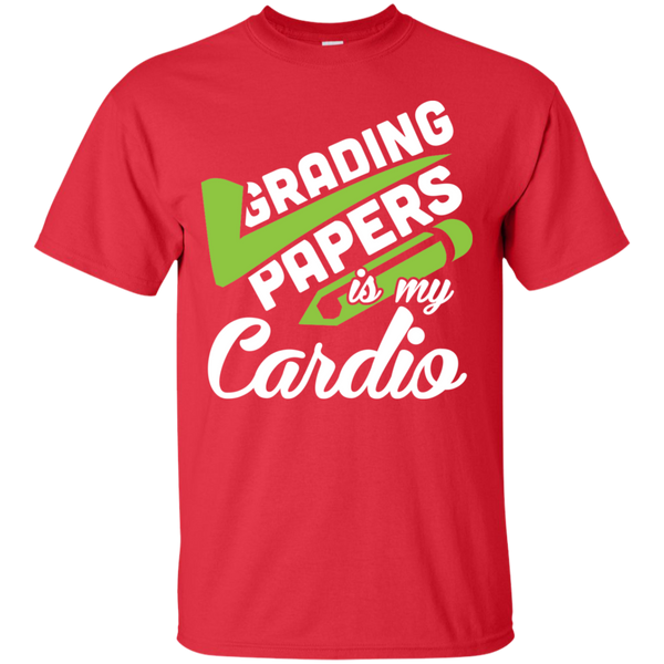 Grading papers is my cardio Cotton T-Shirt - TeachersLoungeShop - 2