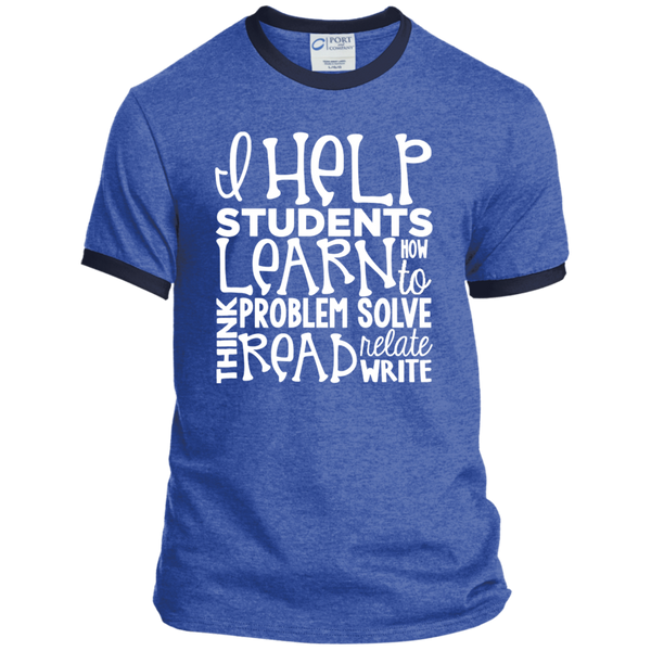 I Help Students Learn Think Problem Solve Read Relate Write Ringer Tee - TeachersLoungeShop - 6