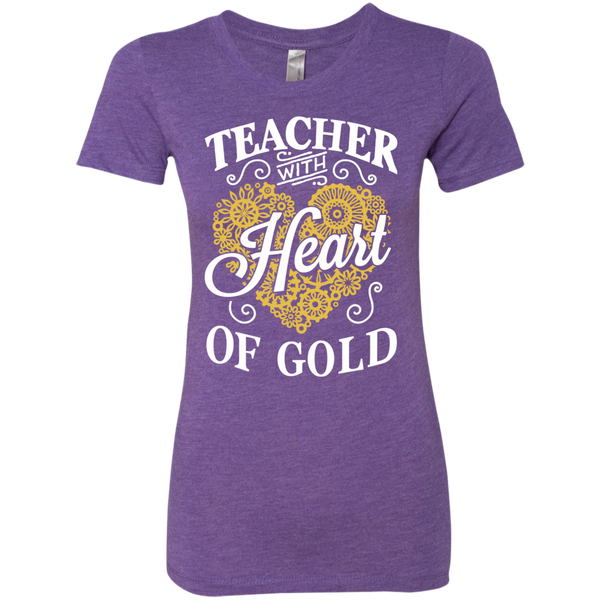Teacher with Heart of Gold  Level Ladies Triblend T-Shirt - TeachersLoungeShop - 1