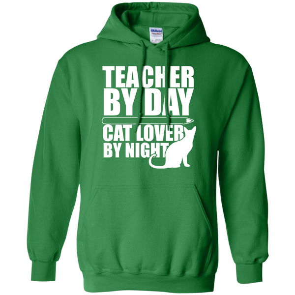 Teacher by Day Cat Lover by Night Hoodie 8 oz - TeachersLoungeShop - 8