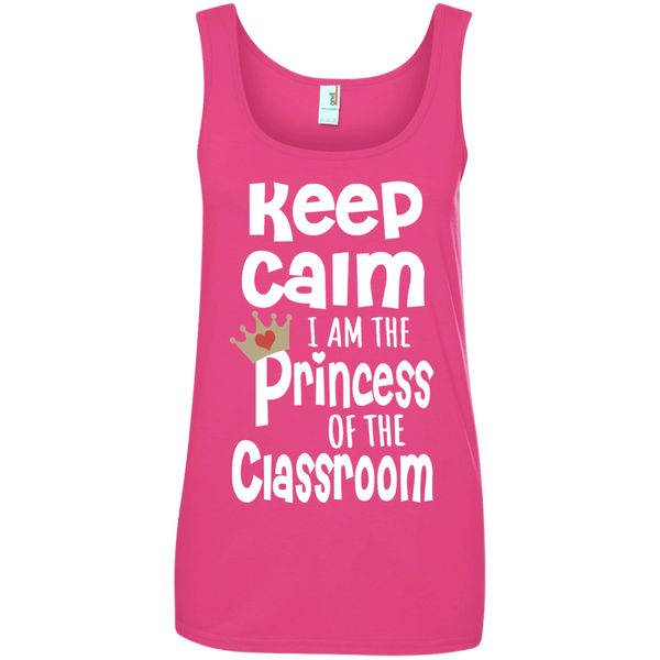 Keep Calm I am the Princess of the Classroom Ladies' 100% Ringspun Cotton Tank Top - TeachersLoungeShop - 3
