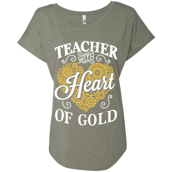 Teacher with Heart of Gold  Level Ladies Triblend Dolman Sleeve - TeachersLoungeShop - 3
