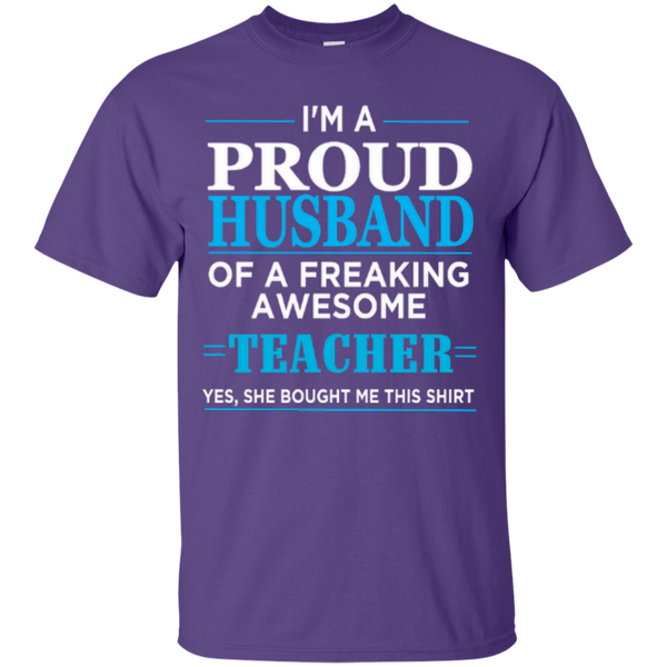 I'm a Proud Husband of a Freaking Awesome Teacher T-shirt Hoodie - TeachersLoungeShop - 4